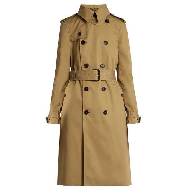 Saint Laurent Double Breasted Gabardine Trench Coat ($2,990) ❤ liked on Polyvore featuring outerwear, coats, double-breasted coat, gabardine trench coat, gabardine coat, brown coat and double-breasted trench coats