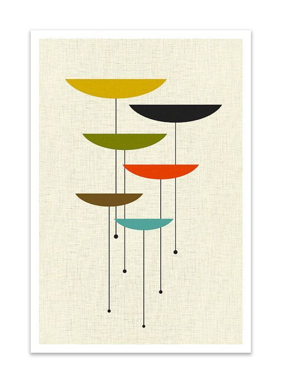 float giclee print mid century modern danish modern by thedor geometric inspiration. Black Bedroom Furniture Sets. Home Design Ideas