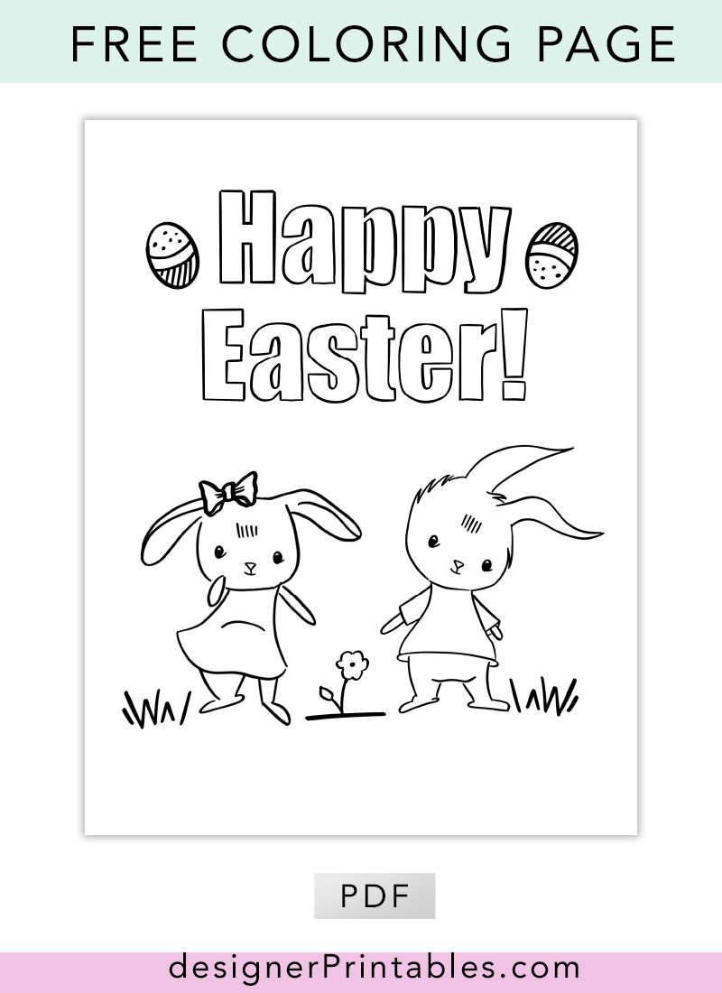 Free Printable Coloring Page Happy Easter Designer