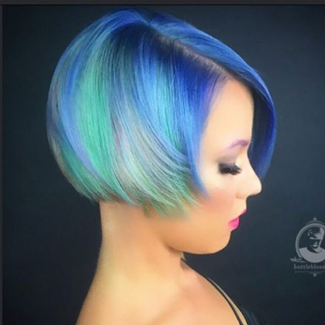 Neon Pastel  hair color design and beautiful Buster Brown Bob by @Bottleblonde76 #hotonbeauty
