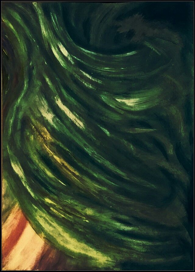 """""""Green Sweep""""   Abstract art   acrylic on canvas   by   Irena Kristina Rose Forrester        Copyright  2014  all rights reserved"""