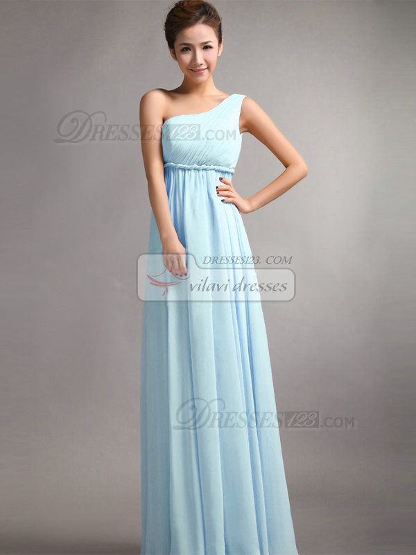 A-Line One Shoulder Floor Length Draped Light Sky Blue Bridesmaid ...