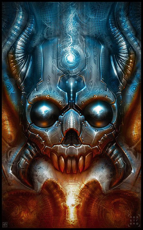 RitualMechaSkull by *noistromo on deviantART ....airbrushing tops of any skull :))