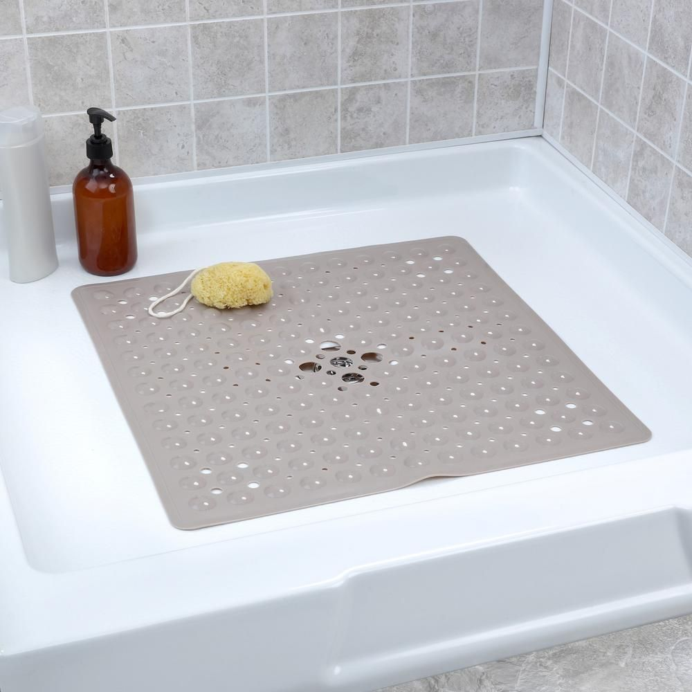 Slipx Solutions 21 In X 21 In Square Shower Mat In Tan 05610 1