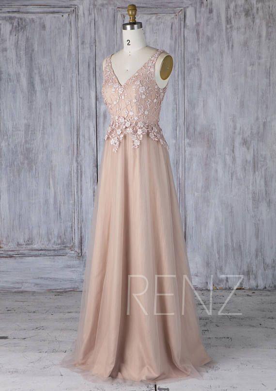 970a53bc7c7 Bridesmaid Dress Pale Khaki Beaded Lace Applique V Neck Tulle ...