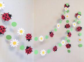 Lady Bug Garland / 6ft Gänseblümchen und Marienkäfer Geburtstag Dekor / 1. Geburtstag Banner / Little Lady Baby Shower Dekorationen / Sie wählen die Farbe   – Princess Baby