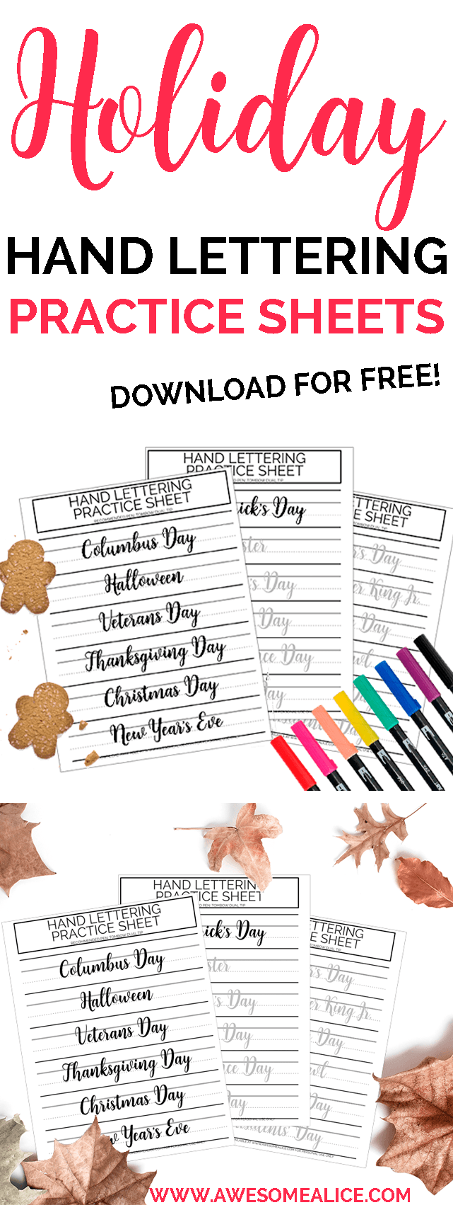 Easter Holidays Brush Lettering Worksheets A trio of hand lettering practice sheets for use with your Tombow Dual Tip Improve your lettering by practicing the words Chris...