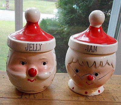 Vintage 1950 S Japan Commadore Santa And Mrs Santa