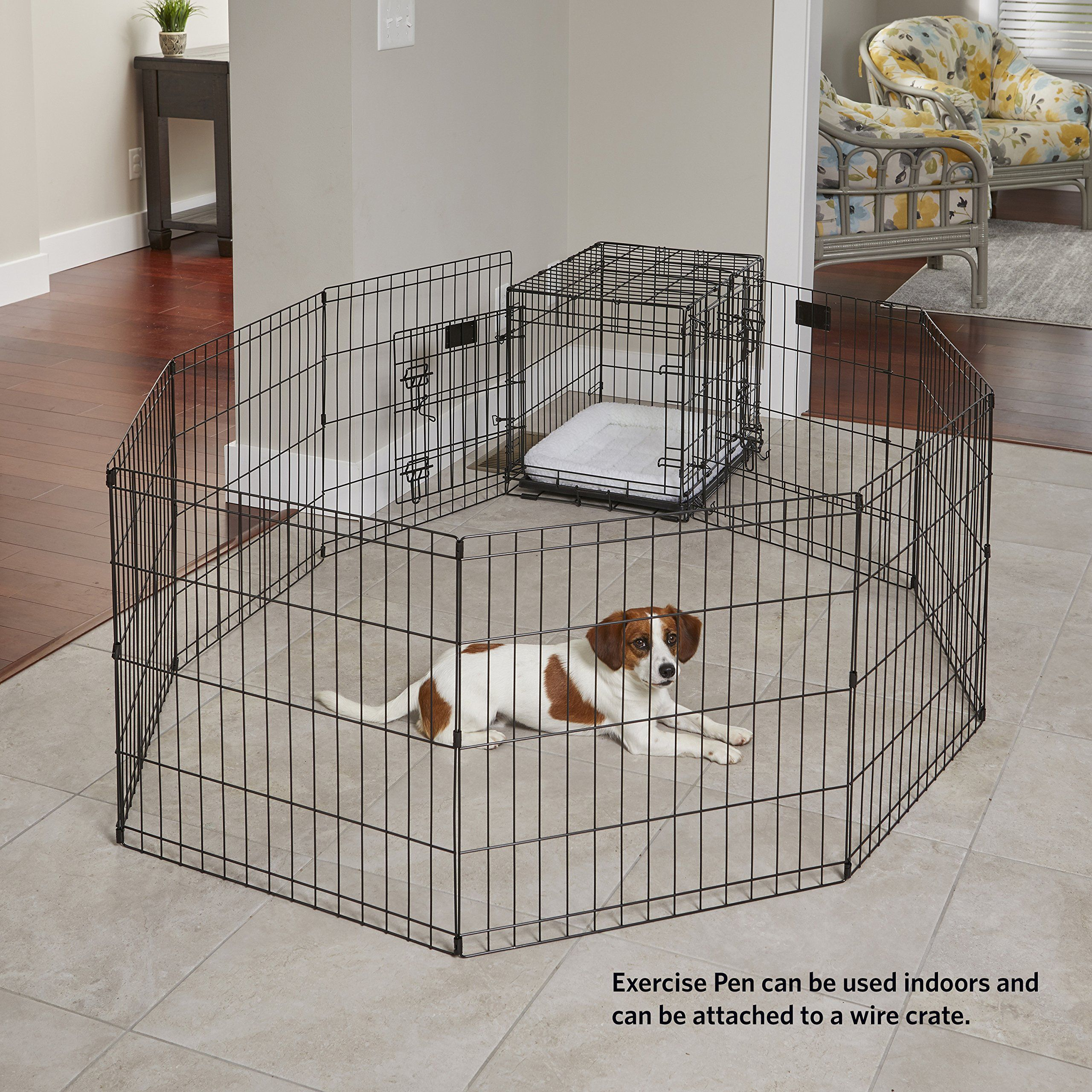 Midwest Foldable Metal Exercise Pen Pet Playpen 24w X 30h Be