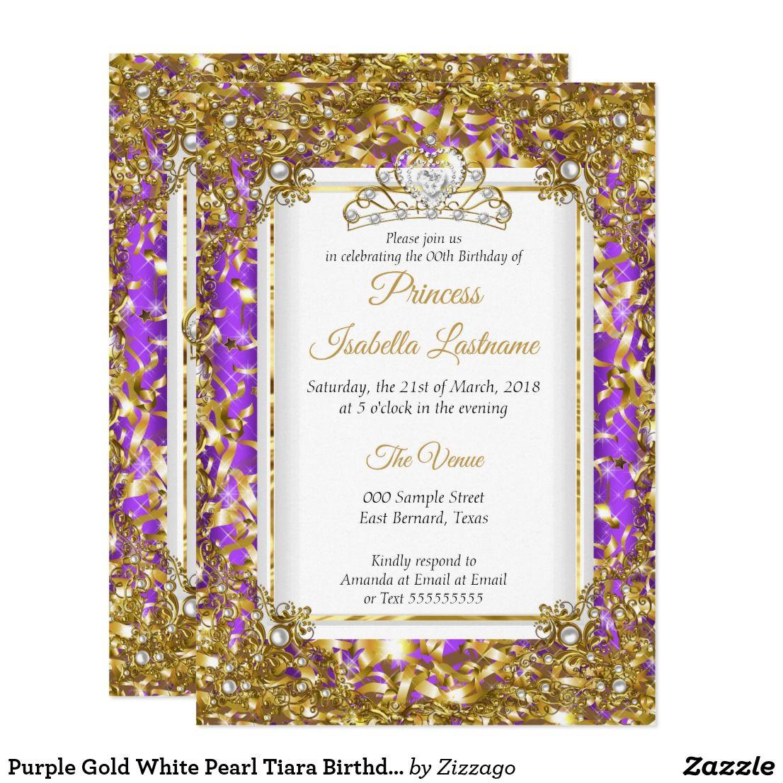 purple gold white pearl tiara birthday