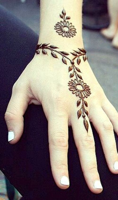 Pendant Simple Mehndi Design Hand Two Flowers Henna Mandalas