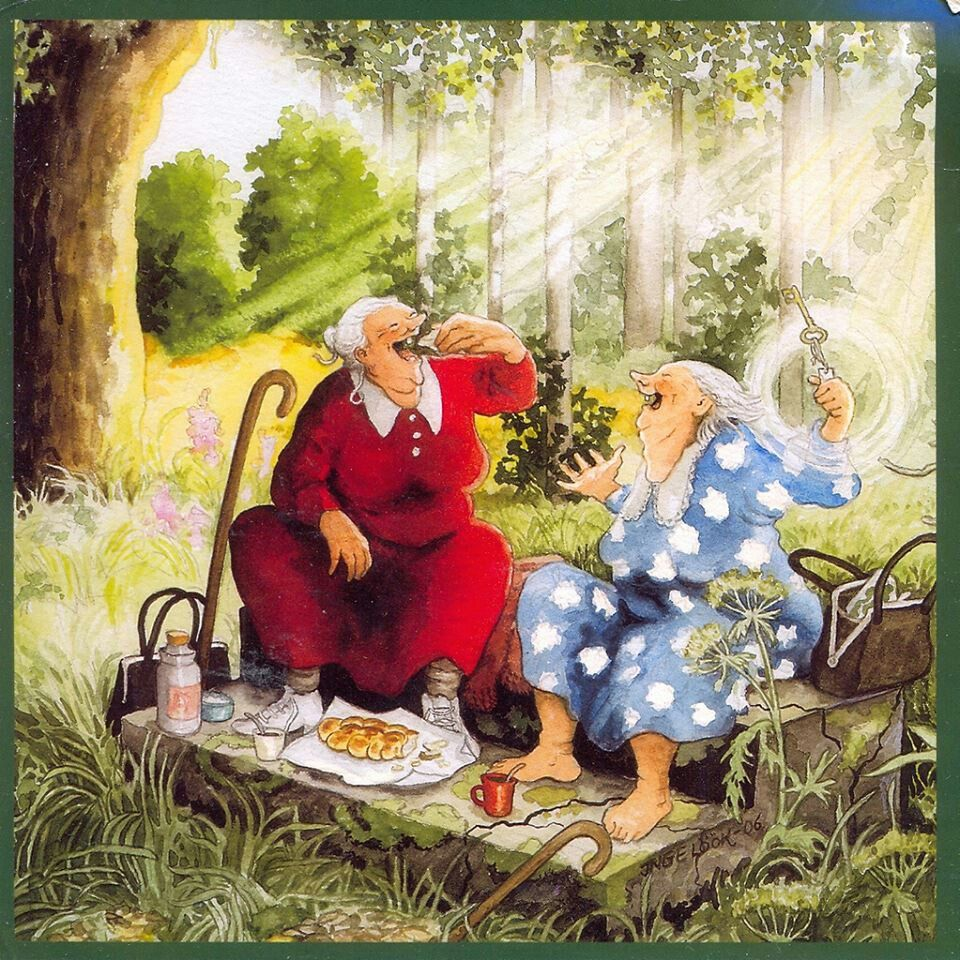 Сестре юбилеем, открытки со старушками веселушками