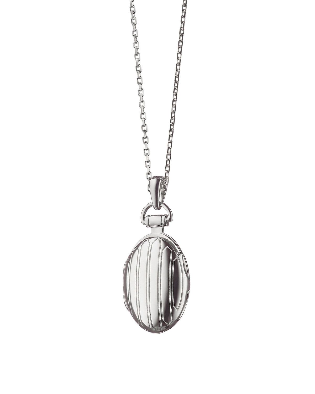 Monica Rich Kosann 3/4 Pinstriped Silver Oval Locket Necklace 2YOeC9gC
