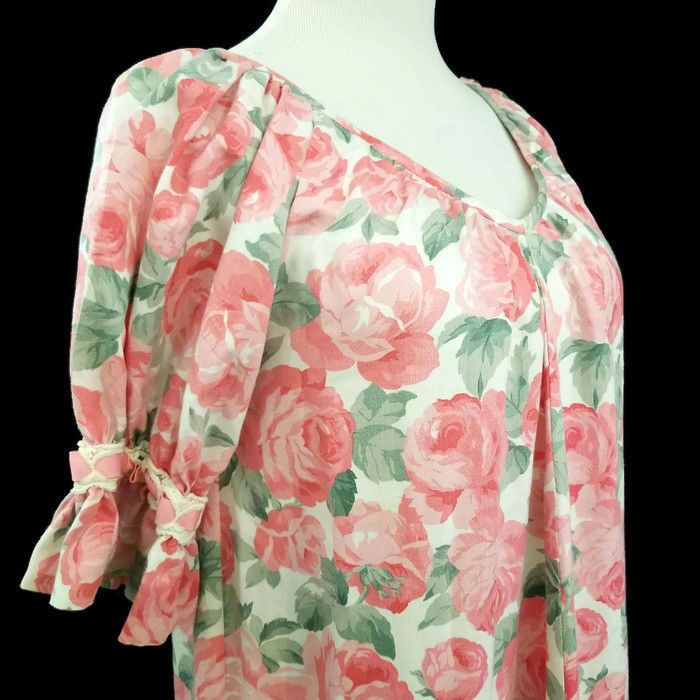974538b7ee1a7 Princess Kaiulani Pink Floral Muumuu Dress Short Sleeves Layered Ruffles  Vneck #PrincessKaiulani #Casual