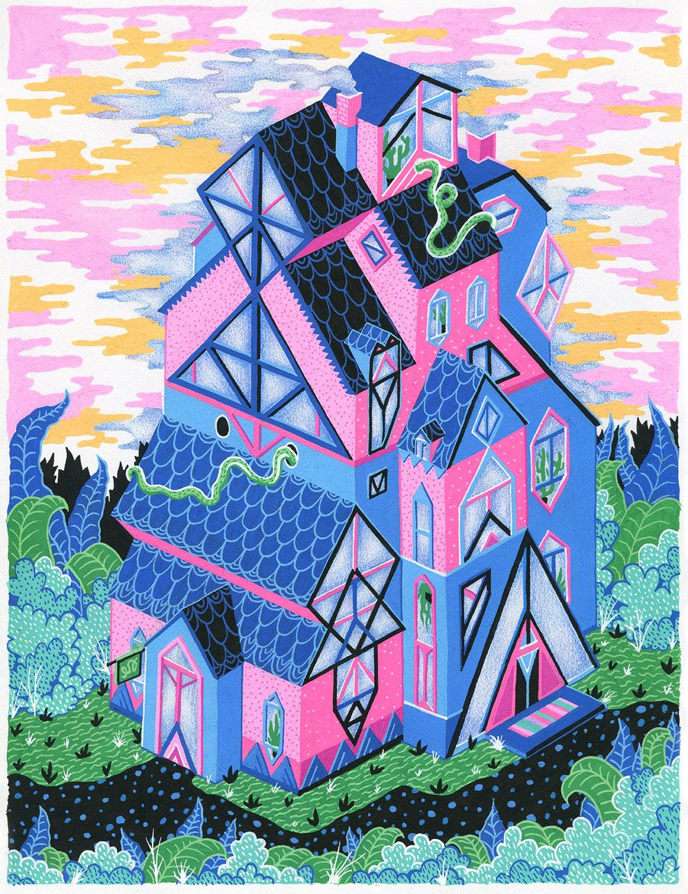 The Surreal, Gouache Houses Crafted by Valeriya Volkova
