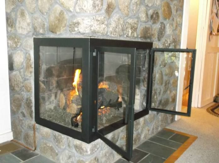 Basic Corner Fireplace Door Doors Custom Fireplaces Mirrors