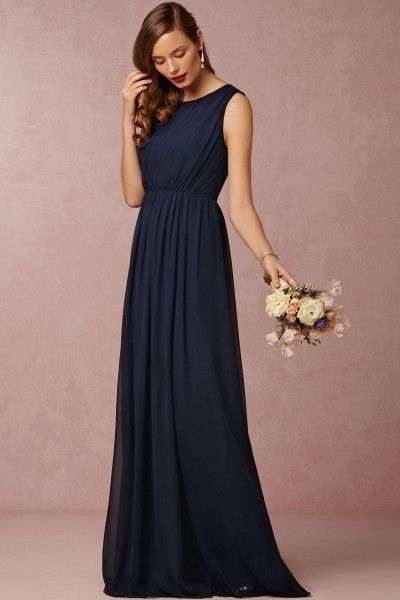 A Line Scoop Floor Length Chiffon Fabric Navy Blue Bridesmaid Dresses Uk With Ruched Styl Navy Bridesmaid Dresses Uk Navy Bridesmaid Dresses Bridesmaid Dresses