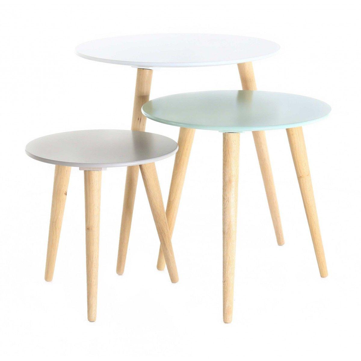3x Table Gigogne Ronde En Bois Blanche Bleue Et Grise Stockholm