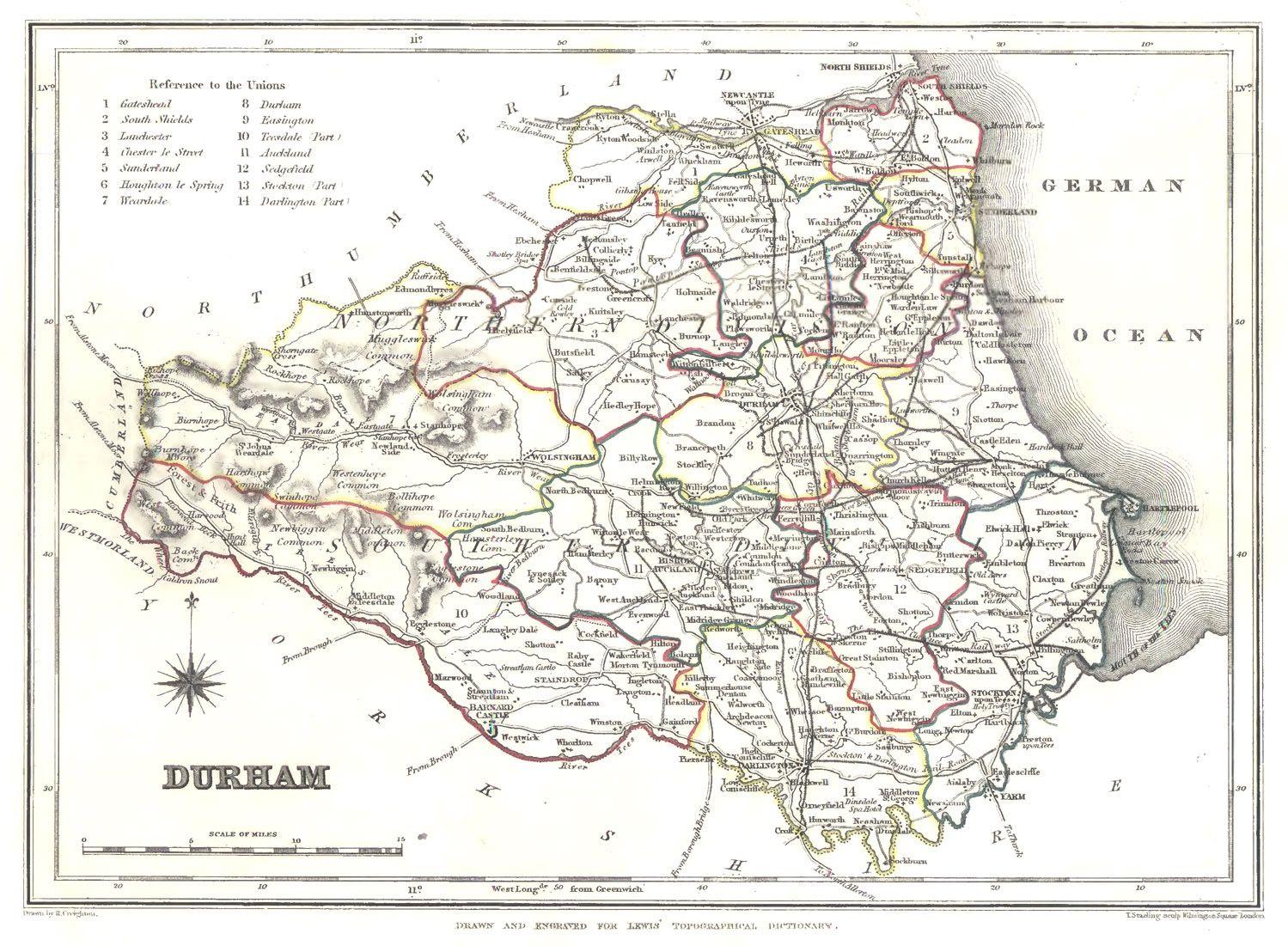 Map Of England Durham.Durham Lew 1848 Ancestors Durham Northumberland England