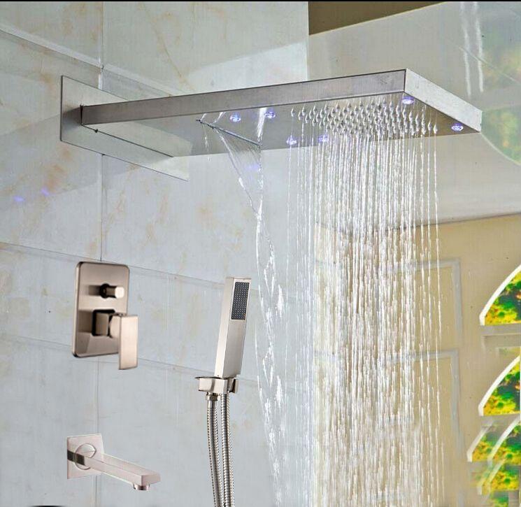 Brushed Nickel Led Waterfall Rain Shower Head Valve Mixer Tap W
