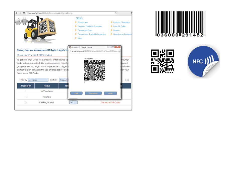 Web Based Asset Tracking Inventory Control With Qr Codes Nfc Mobile Data Collection Asset Management Inventory