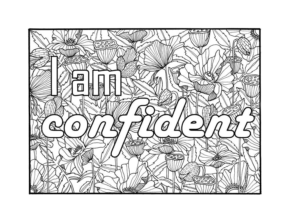 I am confident self affirmation adult coloring page for Self esteem coloring pages