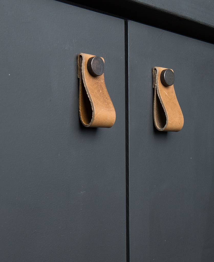 MAGNI Small Leather Kitchen Door Handles - Available in Three Colours #kitchendoors