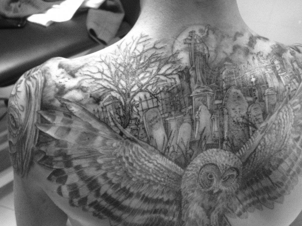 Cemetery tattoo sleeve google search half sleeve ideas for Cemetery tattoo pics