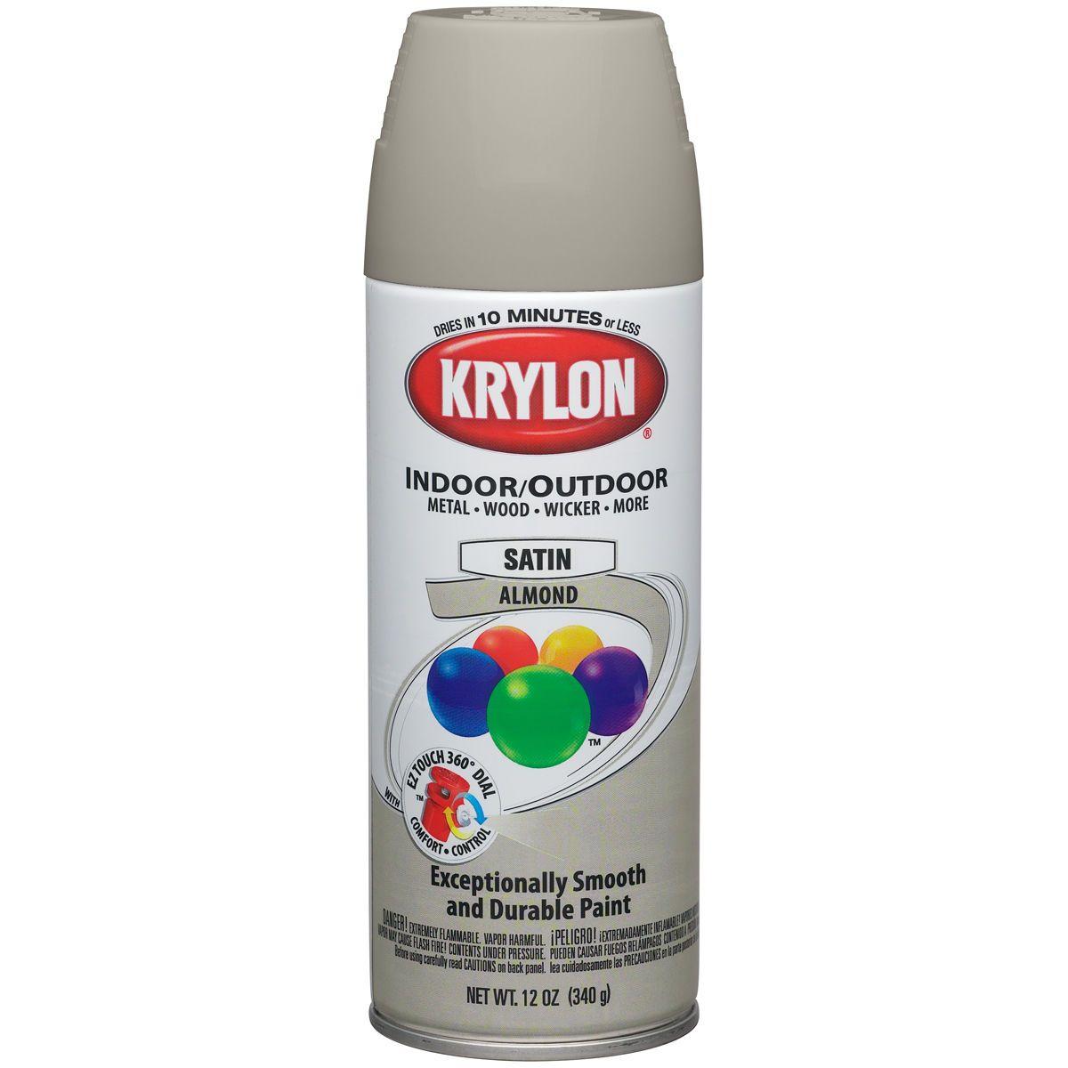 Krylon Indoor/Outdoor Aerosol Paint 12oz - Satin Almond