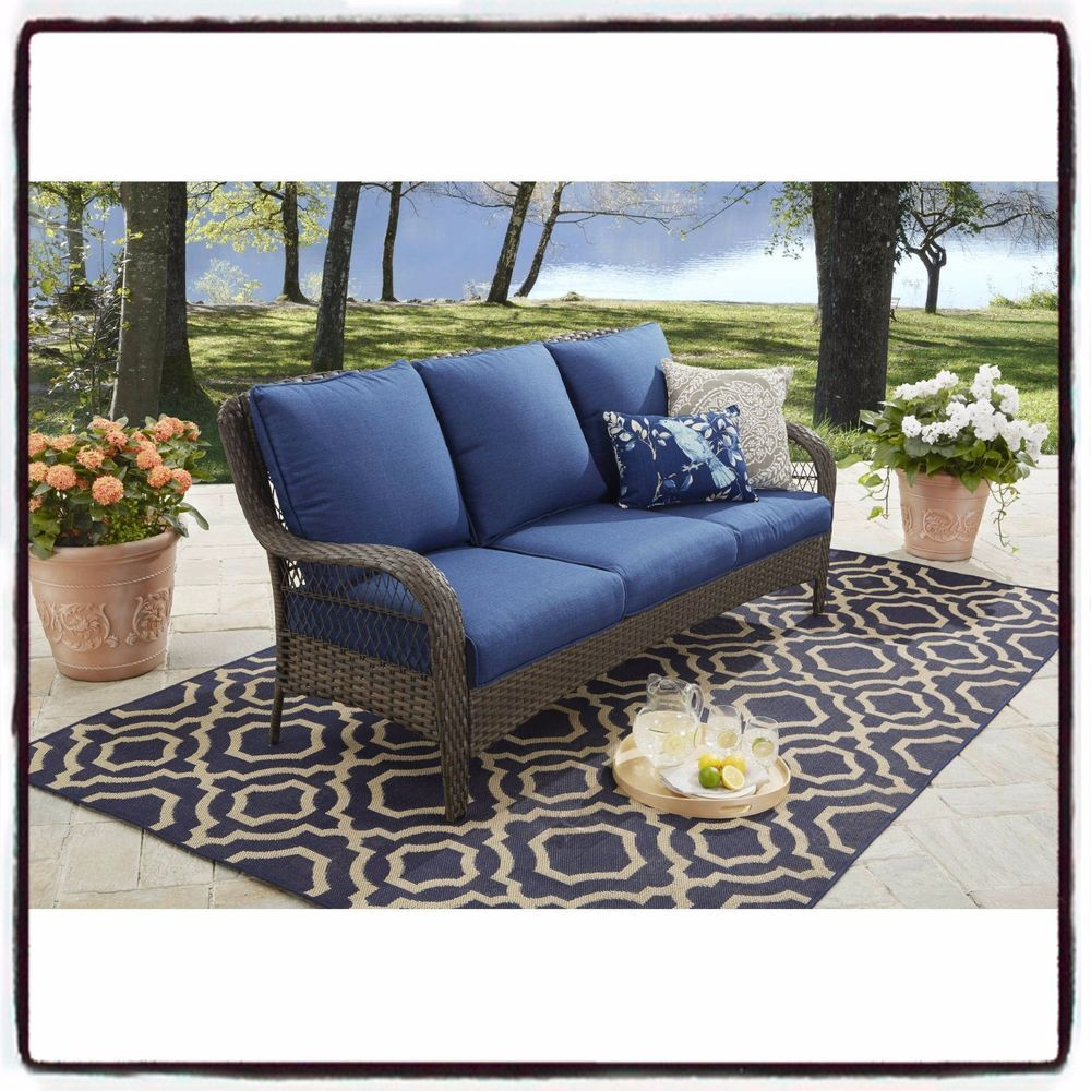 Details About Outdoor Sofa Furniture Seats 3 Wicker Patio Rattan Garden Set  Couch Cushioned US