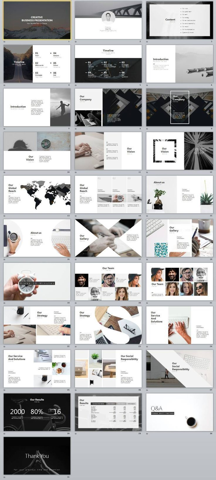 30+ gray creative business design PowerPoint templates