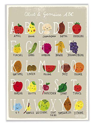 Poster mit ABC Alphabet Obst und Gemüse für Kinderzimmer