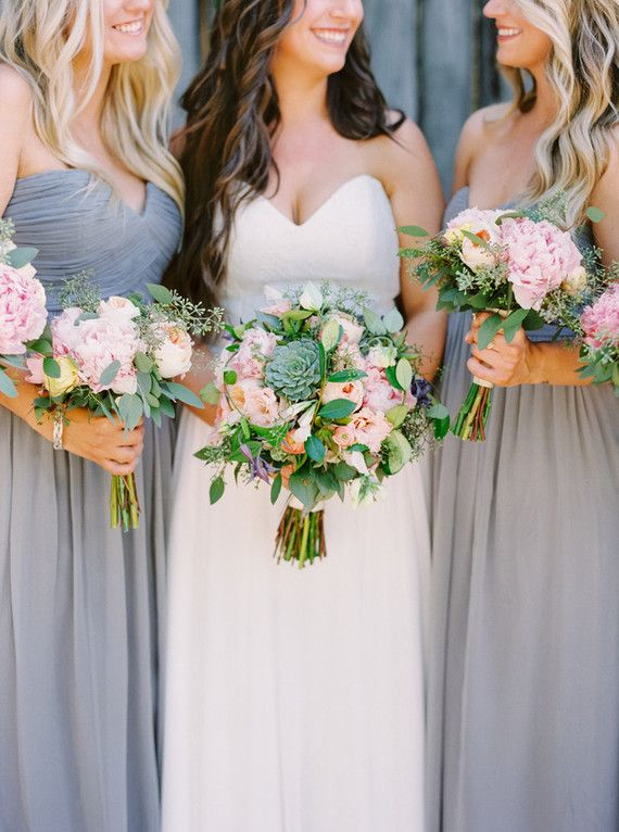 Love the classic and chic color palette of this wedding grey love the classic and chic color palette of this wedding grey bridesmaid dresses paired with pink white and green bouquets add a simple yet rustic touch to mightylinksfo