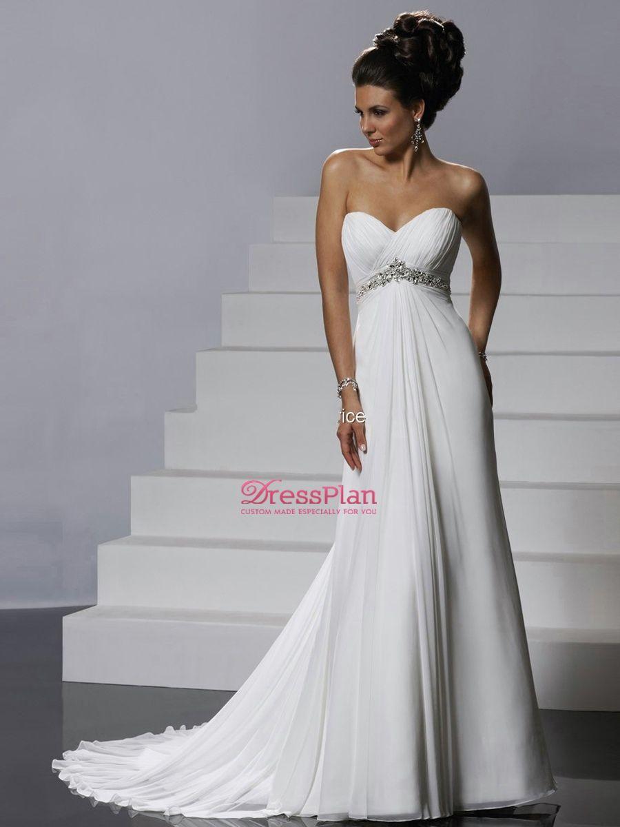Sweetheart Neckline White Chiffon Empire Silhouette Bridal Gown Of Rhinestone Bust And C Goddess Wedding Dress Empire Wedding Dress Ivory Chiffon Wedding Dress [ 1200 x 900 Pixel ]