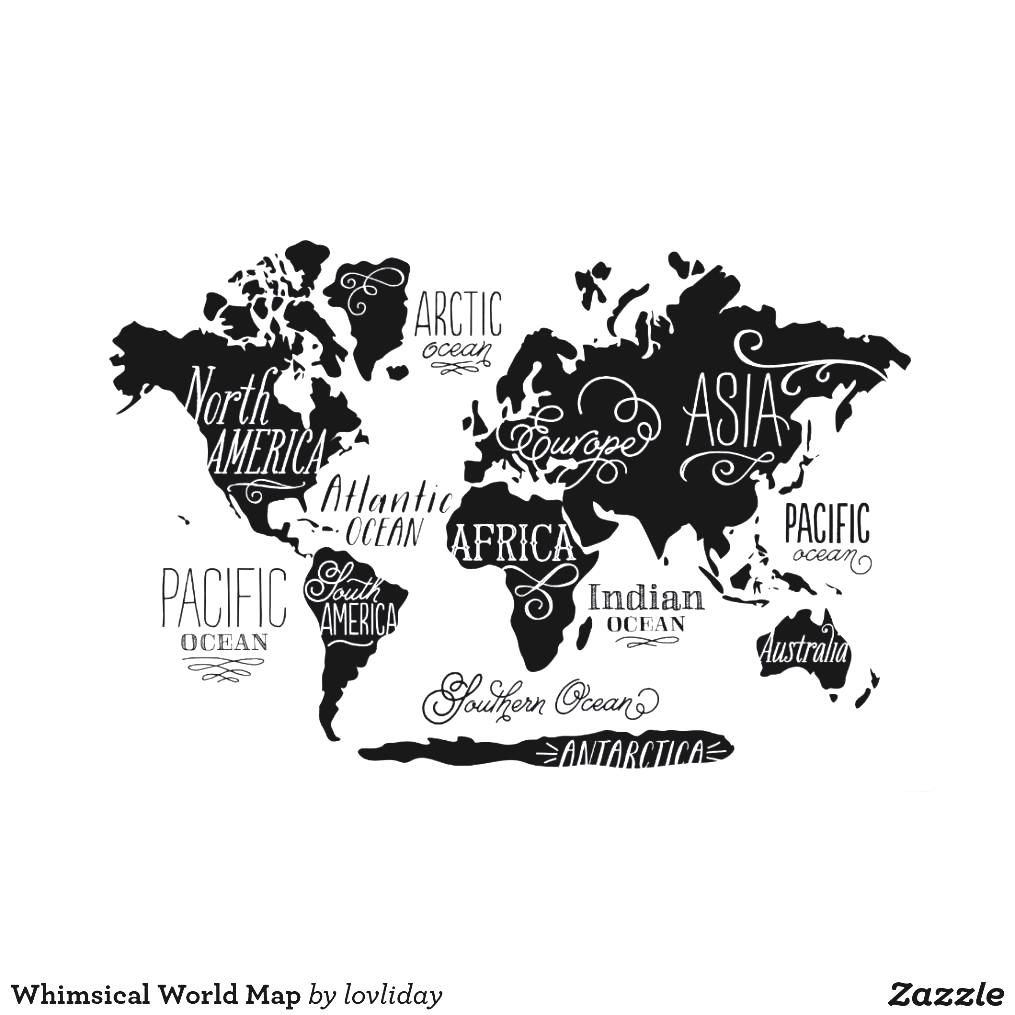 World map black and white printable posters zazzle whimsical poster world map black and white printable posters zazzle gumiabroncs Images