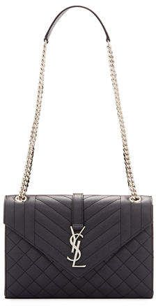 bc8e9eb05317 Saint Laurent V Flap Monogram Medium Envelope Shoulder Bag w  Silvertone  Hardware