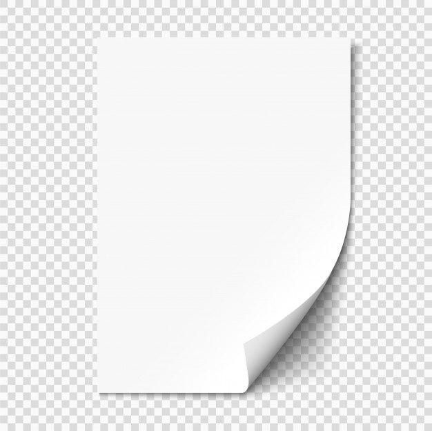 White Page Curl On Empty Sheet Paper With Shadow Pagina Em Branco Folhas Folhas De Papel