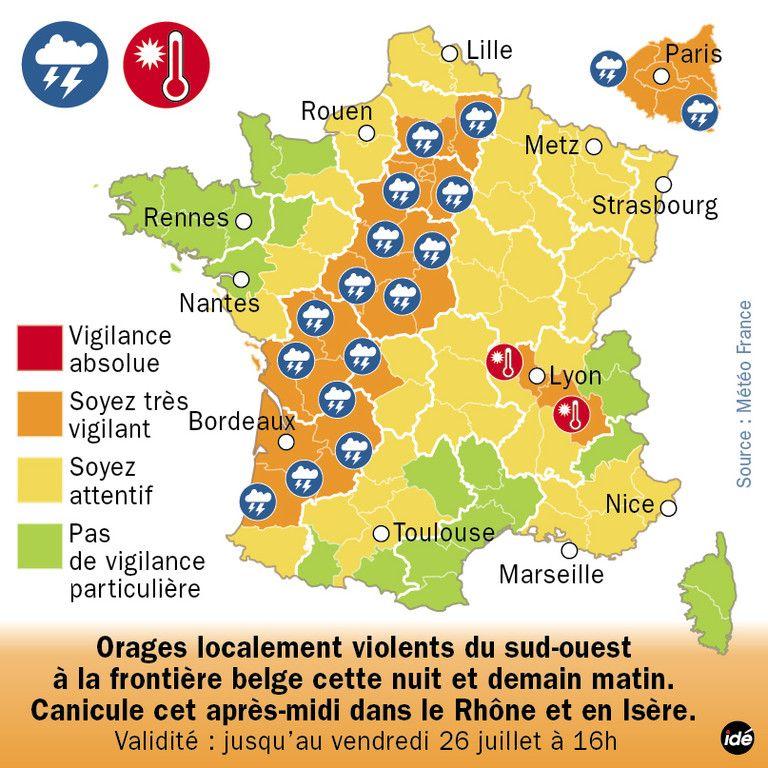 Nouvelle Vigilance Orange Aux Orages 25 Departements En Alerte