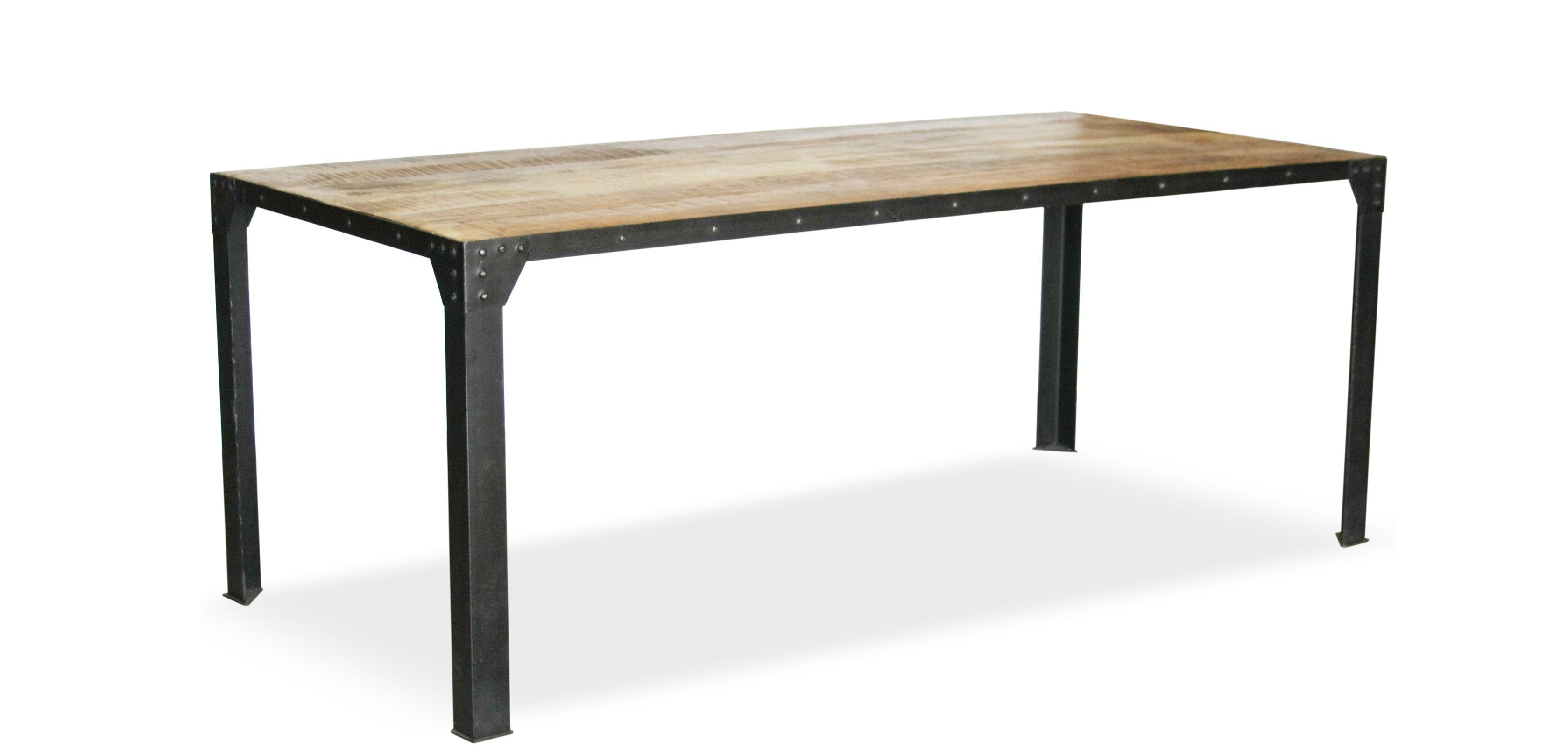 Table à manger vintage industriel - Bois et acier Largeur : 200 cm ...