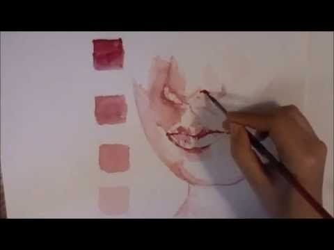 Watercolor Lips Tutorial Speed Painting Acrylic Painting