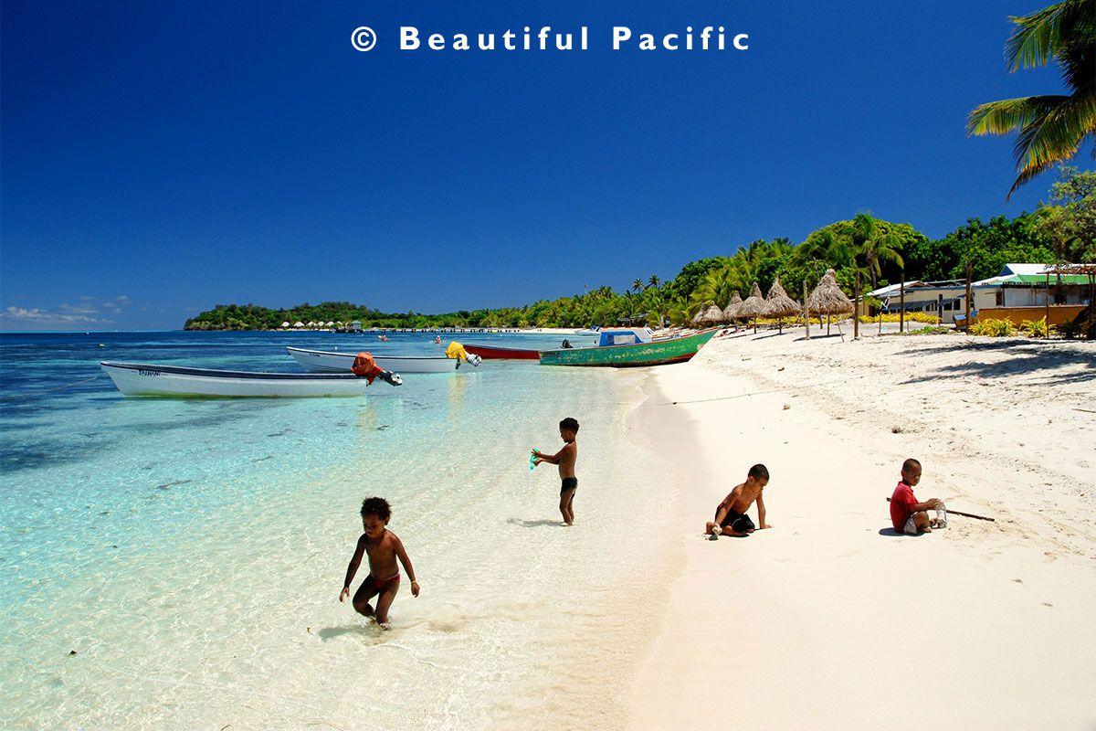 Village Kids Near Mana Island Resort In Fiji Islands