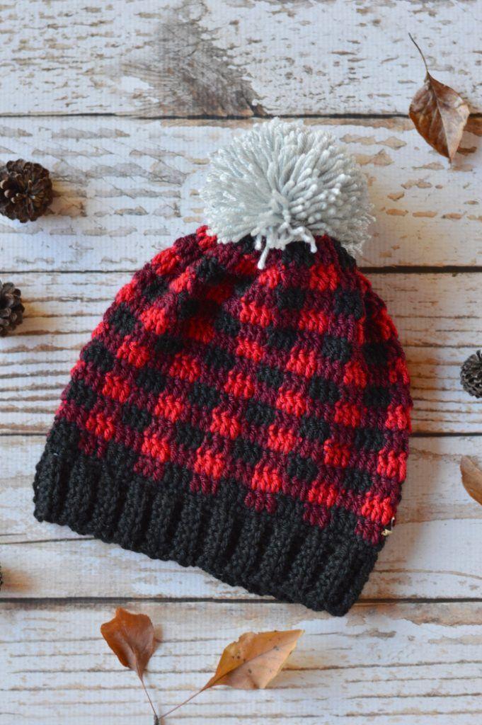 Women Crochet Plaid Slouchy Hat | Muster, Häkeln und Grau