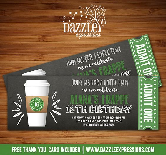 Printable Chalkboard Coffee Latte Ticket Birthday