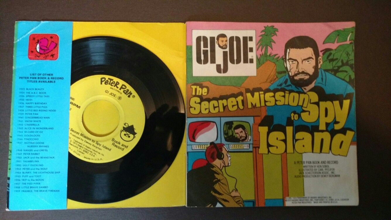 """Kids Toys Action Figure: Book And Record Set Of GI Joe """"The Secret Mission To Spy"""