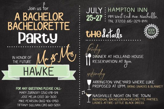 Bachelor Bachelorette Party Invitation By BohemianBungalow1986 1500 Completely Customizable To Your Event