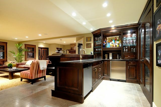 Wet Bar In Center Of Basement Entertainment Room To Your Right