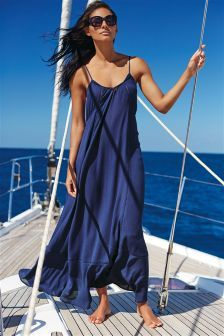 Navy Drape Maxi Dress