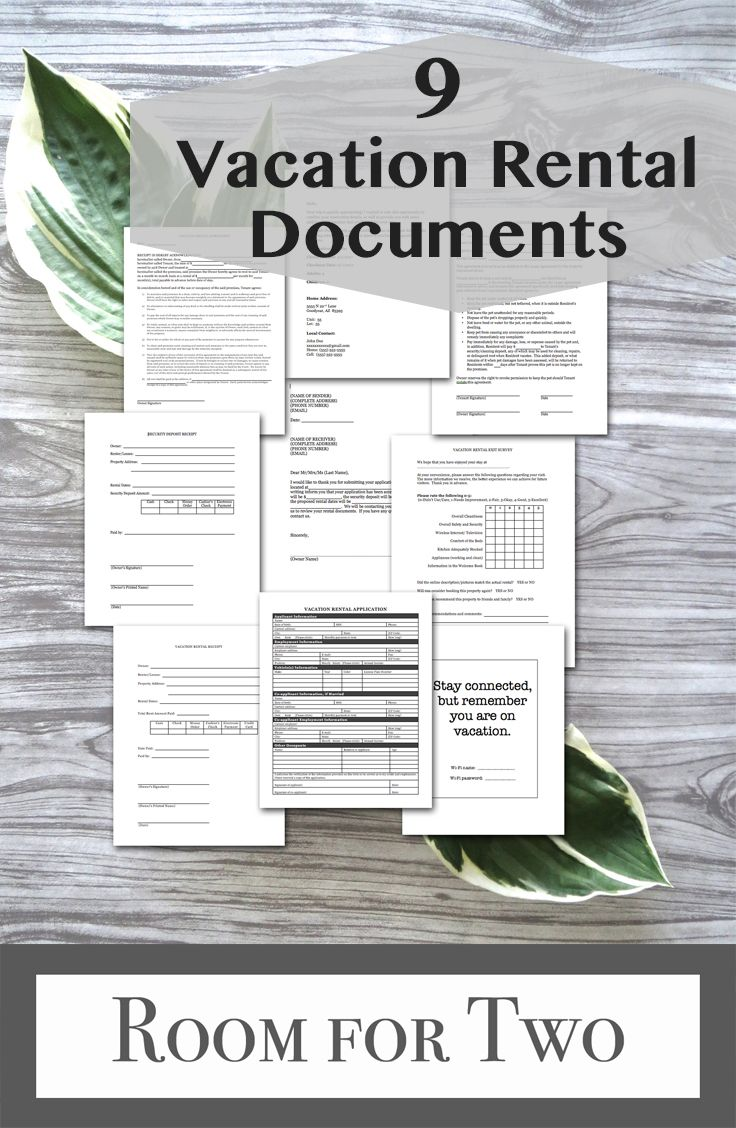 9 Vacation Rental Forms And Templates Instant Digital Download
