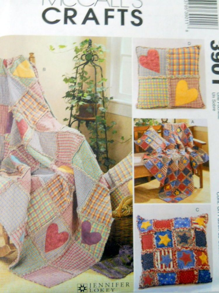 McCalls Craft Sewing Pattern 3901 Rag Throws and Pillows 4 Versions ...