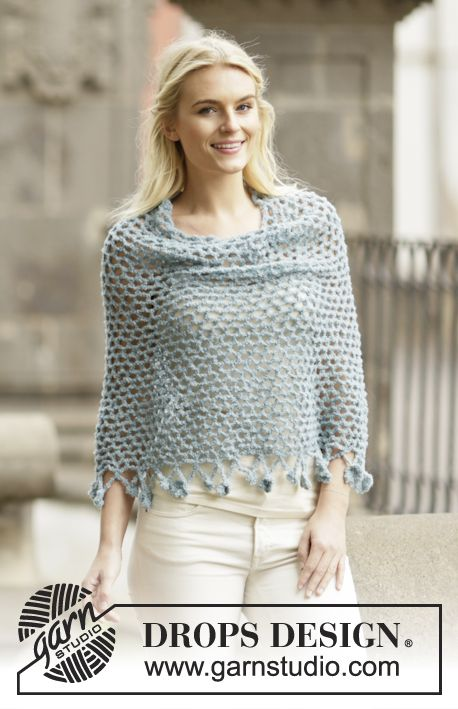 """Crochet DROPS poncho with flower edge, worked top down in """"Alpaca ..."""